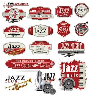 Coleção de crachá de música jazz