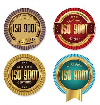 Coleção de crachá de ouro certificada iso 9001