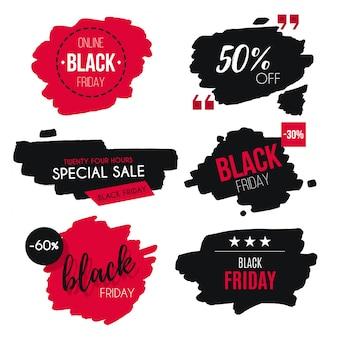 Coleção de crachá de venda sexta-feira negra aquarela