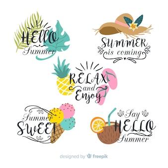 Coleção de crachá de verão colorido
