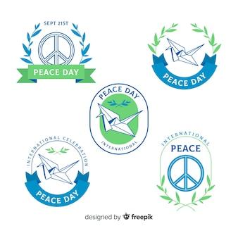 Coleção de crachá do dia da paz