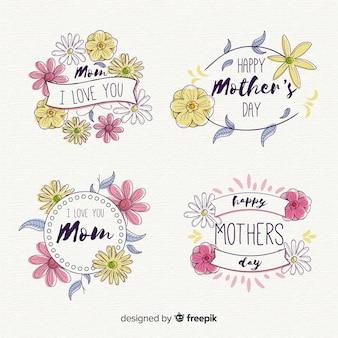 Coleção de crachá do dia das mães