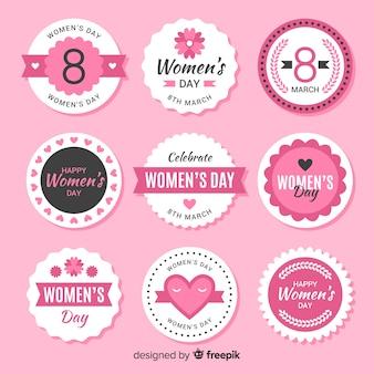 Coleção de crachá do dia das mulheres