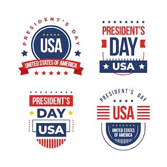Coleção de crachá do dia do presidente