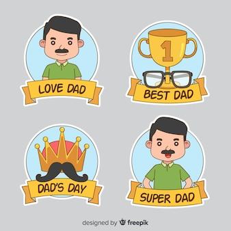 Coleção de crachá do dia dos pais