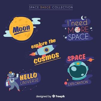 Coleção de crachá lindo espaço com design plano