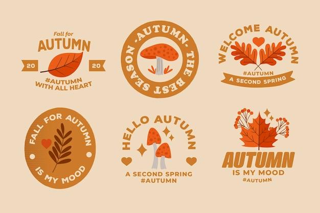 Coleção de crachá outono plana