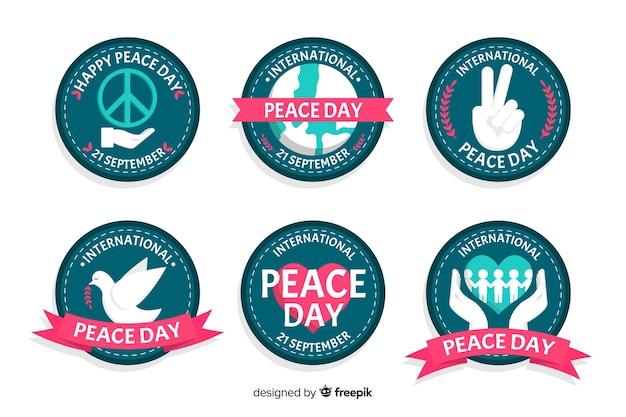 Coleção de crachá plana dia da paz