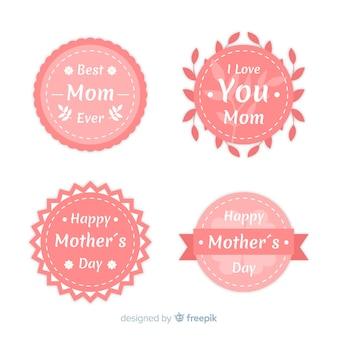 Coleção de crachá plana dia das mães