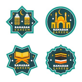 Coleção de crachá plana do ramadã