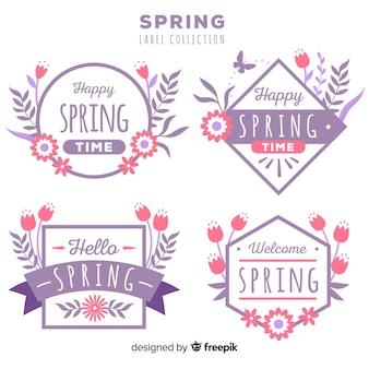 Coleção de crachá plana primavera