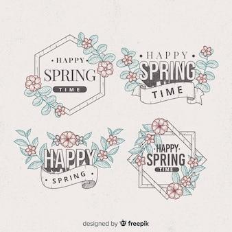 Coleção de crachá primavera vintage