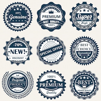 Coleção de crachá. qualidade premium, emblemas de garantia.