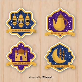 Coleção de crachá ramadan plana
