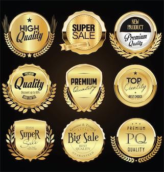 Coleção de crachá retro dourado e preto e design de etiqueta