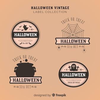 Coleção de crachá vintage de halloween
