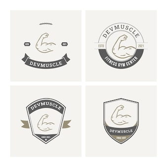 Coleção de crachás com logotipo de fitness de academia