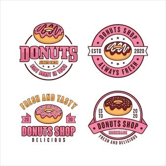 Coleção de crachás da loja de donuts
