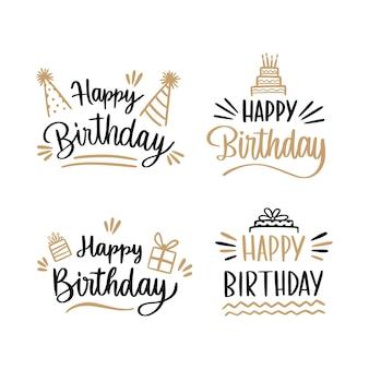 Coleção de crachás de aniversário com letras