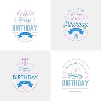 Coleção de crachás de aniversário de design plano