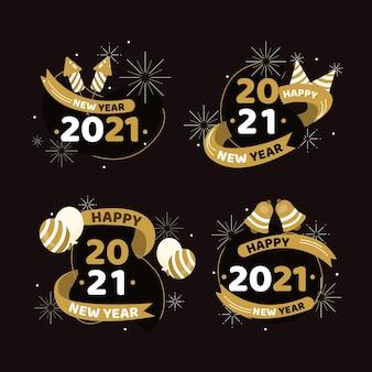 Coleção de crachás de ano novo 2021 com design plano