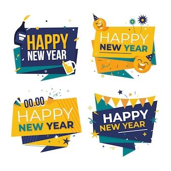 Coleção de crachás de ano novo de 2021 em design plano