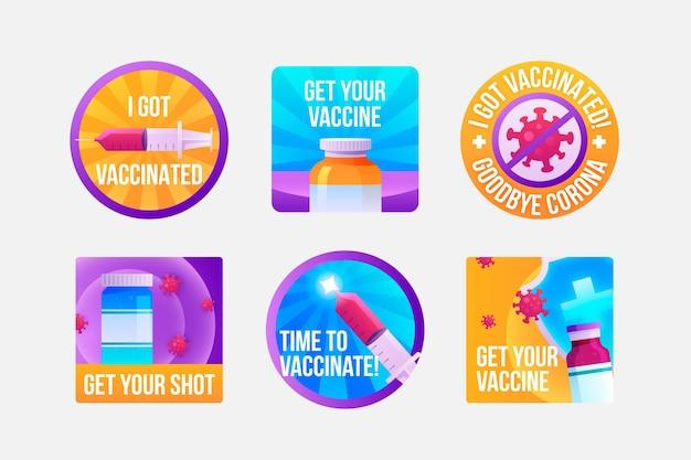 Coleção de crachás de campanha de vacinação de desenhos animados