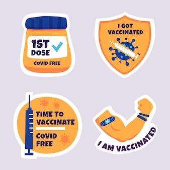 Coleção de crachás de campanha de vacinação desenhada à mão
