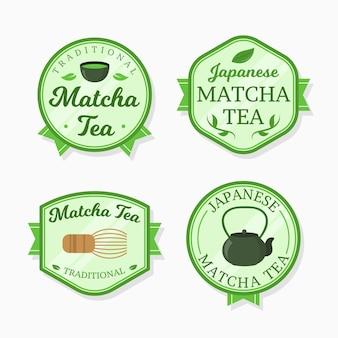 Coleção de crachás de chá matcha