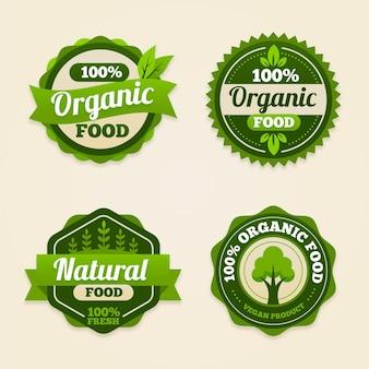 Coleção de crachás de comida orgânica plana