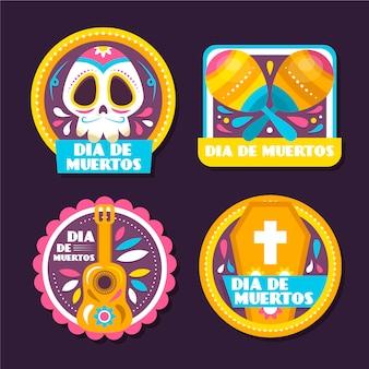 Coleção de crachás de dia de muertos em design plano