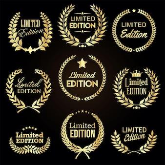 Coleção de crachás de etiqueta de edição limitada de coroa de louros dourada
