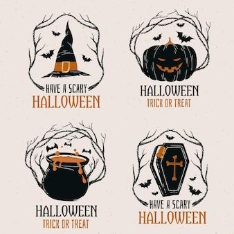 Coleção de crachás de halloween desenhada à mão