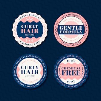 Coleção de crachás de método de cabelo liso cacheado
