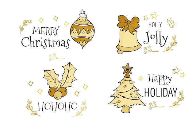 Coleção de crachás de natal desenhada à mão