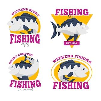 Coleção de crachás de pesca no fim de semana