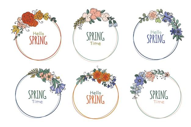 Coleção de crachás de primavera desenhada à mão