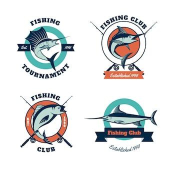 Coleção de crachás de torneio de pesca