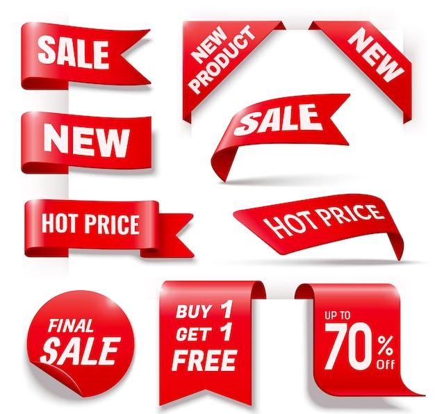 Coleção de crachás de venda comercial em vermelho, ilustração 3d