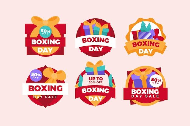 Coleção de crachás de venda de boxing day design plano