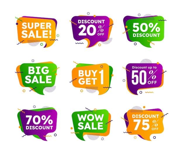 Coleção de crachás de venda gradiente