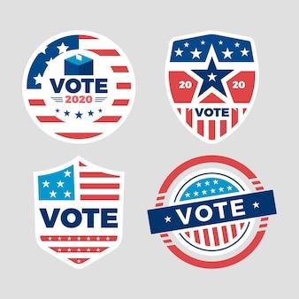 Coleção de crachás de votação