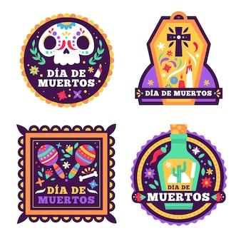 Coleção de crachás dia de muertos em design plano
