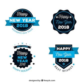 Coleção de crachás do ano novo de 2018 em azul