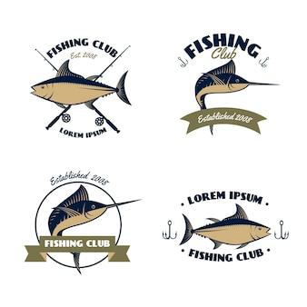 Coleção de crachás do clube de pesca