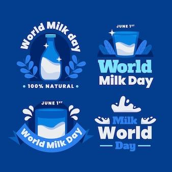 Coleção de crachás do dia do leite no mundo plano