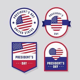 Coleção de crachás do dia do presidente