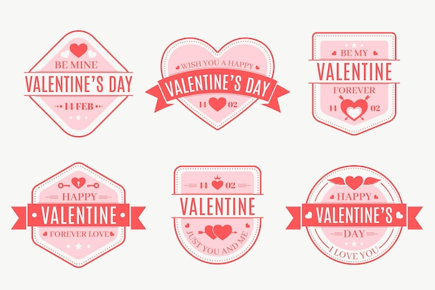 Coleção de crachás do dia dos namorados em design plano