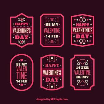 Coleção de crachás do dia dos namorados