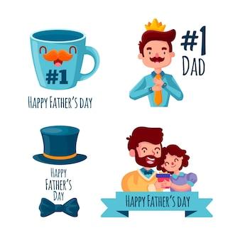 Coleção de crachás do dia dos pais